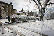 Dog walkers pass-by Dulwich Village homes landscape during mid-winter snow.