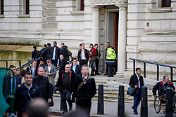 © Licensed to London News Pictures. 22/03/2017. London, UK. People being evacuated from the Treasury office on Whitehall, at the scene of suspected terrorist attack near Houses of Parliament in Westminster, London. Photo credit: Ben Cawthra/LNP