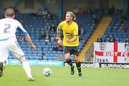 Burton Albion's George Taft breaks down the wing. Skybet football league two match, Bury v Burton Albion at the JD Stadium, Gigg Lane in Bury, Lancs on Saturday 20th Sept 2014.<br /> pic by David Richards,  Andrew Orchard sports photography.