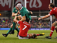 Ultan Dillane and Peter O'Mahony of Ireland and Lucas Rumball of Canada in action during the 2016 Guinness Series  autumn international rugby match, Ireland v Canada at the Aviva Stadium in Dublin, Ireland on Saturday 12th November 2016.<br /> pic by  John Halas, Andrew Orchard sports photography.