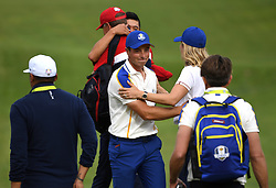 Team Europe's Viktor Hovland after his match against Team USA's Collin Morikawa on the 18th green during day three of the 43rd Ryder Cup at Whistling Straits, Wisconsin. Picture date: Sunday September 26, 2021.