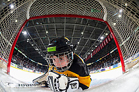 KELOWNA, BC - JANUARY 31: A minor hockey player looks at the net cam during intermisson at Prospera Place on January 31, 2020 in Kelowna, Canada. (Photo by Marissa Baecker/Shoot the Breeze)