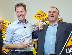 © Licensed to London News Pictures. 04/05/2015. South West London, UK. NICK CLEGG and Energy Secretary ED DAVEY at Liberal Democrat Kingston HQ.  Nick Clegg, Deputy Prime Minister and Leader of the Liberal Democrats campaigns in the UK General Election in South West London today 4th May 2015. Photo credit : Stephen Simpson/LNP