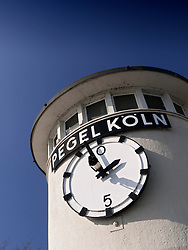 the Pegel-Koln or Tide scale of Cologne on banks of River Rhine in Cologne, North Rhine-Westphalia, Germany, Europe