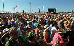 02 May 2015. New Orleans, Louisiana.<br /> The New Orleans Jazz and Heritage Festival. <br /> Big crowds on a busy day at Jazzfest.<br /> Photo; Charlie Varley/varleypix.com