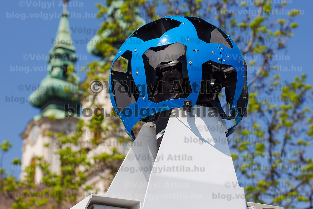 Camera section of the special car recording photos for the Google Street View service during a press conference on the Hungarian launch of Google Street View in Budapest, Hungary on April 23, 2013. ATTILA VOLGYI