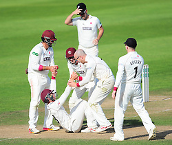 Somerset celebrate the wicket of Ryan McLaren .   - Mandatory by-line: Alex Davidson/JMP - 23/08/2016 - CRICKET - Cooper Associates County Ground - Taunton, United Kingdom - Somerset v Hampshire - Specsavers County Championship Division One
