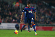 Marcus Rashford of Manchester Utd in action. Premier league match, Stoke City v Manchester Utd at the Bet365 Stadium in Stoke on Trent, Staffs on Saturday 21st January 2017.<br /> pic by Andrew Orchard, Andrew Orchard sports photography.