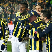 Fenerbahce's Mirosloav Stoch (2ndR) celebrate his goal with team mate during their Turkish superleague soccer match Fenerbahce between Genclerbirligi at the Sukru Saracaoglu stadium in Istanbul Turkey on Saturday 03 March 2012. Photo by TURKPIX