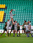 Sale Sharks lock Lood De Jager wins a line-out during a Gallagher Premiership Round 13 Rugby Union match, Saturday, Mar. 13, 2021, in Northampton, United Kingdom. (Steve Flynn/Image of Sport)