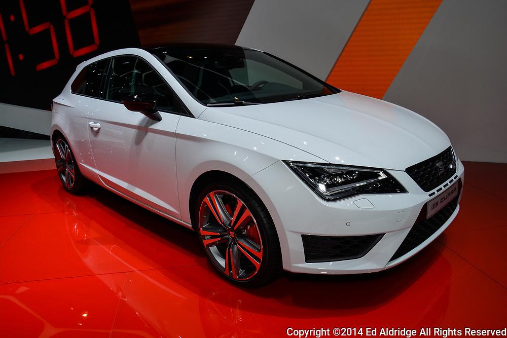 GENEVA, SWITZERLAND - MARCH 4, 2014: Seat Leon Cupra on display during the Geneva Motor Show.