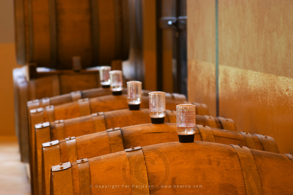 A row of barrels with fermenting wine and water locks Champagne house Maison Giraud-Hemart, also called Champagne Henri Giraud, Ay, Vallée de la Marne, Champagne, Marne, Ardennes, France