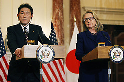 U.S. Secretary of State Hillary Clinton (R) attends a joint press conference with Japanese Foreign Minister Fumio Kishida at the Department of State in Washington D.C., the United States, January 18, 2013. Photo by Imago / i-Images...UK ONLY