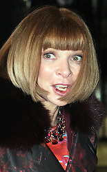 ©London News pictures. 21.02.2011. American Vogue editer Anna Wintour with a mark on her lips leaves an event at No 10 Downing Street hosted by Prime Minister's wife Samantha Cameron to celebrate the UK's fashion industry. Picture Credit should read Carmen Valino/LNP
