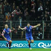 Croatia's Vedran CORLUKA (R) celebrate his goal during their UEFA EURO 2012 Play-off for Final Tournament First leg soccer match Turkey betwen Croatia at TT Arena in Istanbul Nüovember11, 2011. Photo by TURKPIX