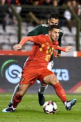 November 10, 2017 - Brugge, BELGIUM - Belgium's Eden Hazard and Mexico's Diego Reyes pictured in action during a friendly soccer game between Belgian national team Red Devils and Mexico, Friday 10 November 2017, in Brugge. BELGA PHOTO DIRK WAEM (Credit Image: © Dirk Waem/Belga via ZUMA Press)