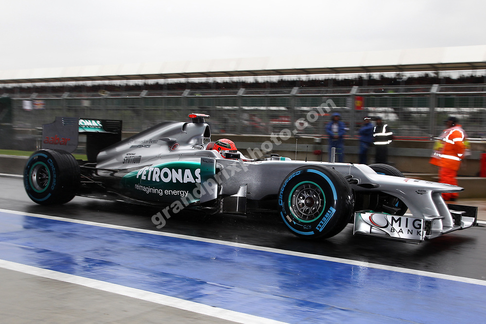 Michael Schumacher (Mercedes) in the pits during wet practice for the 2012 British Grand Prix in Silverstone. Photo: Grand Prix Photo