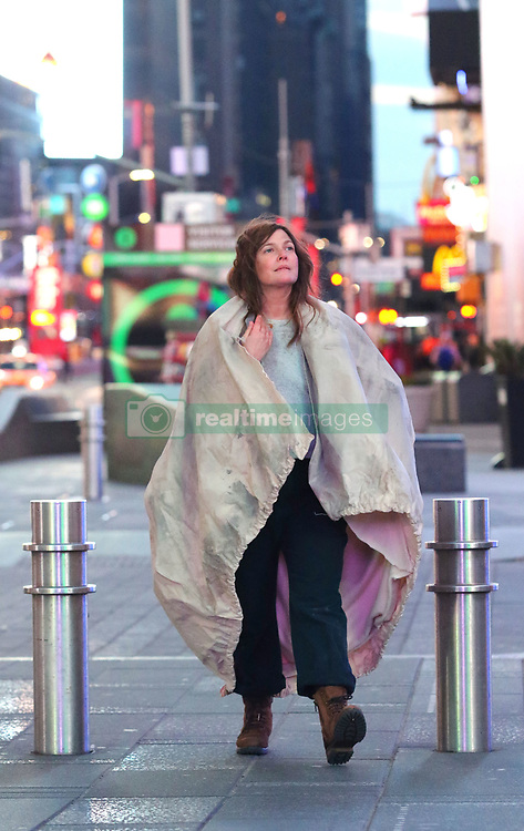 """Drew Barrymore looks unrecognizable while filming her latest movie project """"THE STAND-IN"""" in Manhattan's East Village area and later filming in the early morning hours of Saturday in an almost empty Times Square. """"THE STAND-IN"""" tells the story of a disaffected comedy actress and her ambitious stand-in trading places, both played by Drew Barrymore. Candy is a washed-up movie star, busted for a tax evasion, who hires her unemployed, adoring stand-in Paula to do community service in her place. However, a weird co-dependent relationship ensues as Candy begins to use Paula as a stand- in in all parts of her life to escape from the stressful demands of fame. Eventually, Paula starts to take over Candy's identity, career and boyfriend, finally kicking Candy out of her own house, where she is forced to survive in the real world for the first time while Paula lives the celebrity life of her dreams, until her boyfriend discovers the truth about the woman he's sleeping with. 16 Feb 2019 Pictured: Drew Barrymore. Photo credit: LRNYC / MEGA TheMegaAgency.com +1 888 505 6342"""