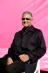 Dec 03 2007. New Orleans, Louisiana. Lower 9th Ward.<br /> Brad Pitt revisits the Lower 9th ward, devastated by Hurricane Katrina to present 'Make it Right' where architects' designs are unveiled to the public. Winning design Architects, Gerald Billes of Billes Architecture with a pink background for the pink project.<br /> Photo credit; Charlie Varley.