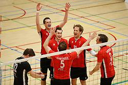 20180324 NED: Topdivisie Maatwerkers VCN - Next Volley Dordrecht, Capelle aan den IJssel <br />Vreugde bij Maatwerkers VCN, Lucas Vroom (2), Cain van Hal (9), Rowan Hogenboom (10) of Maatwerkers VCN <br />©2018-FotoHoogendoorn.nl / Pim Waslander