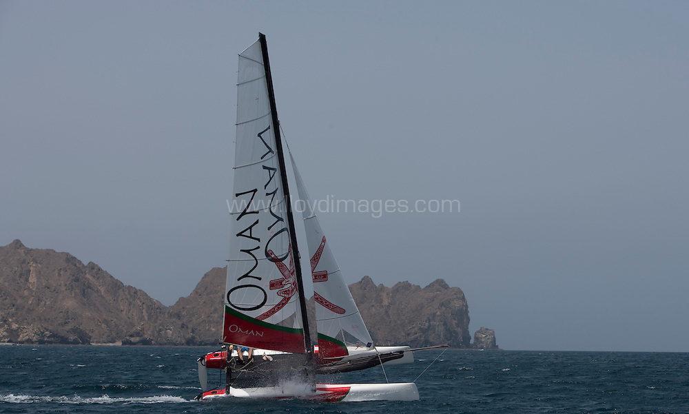 Pictures of the Oman Sail racing team training onboard their F18 catamarans today.<br /> Muscat. Oman
