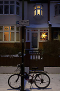 A star shines from the porch of an Edwardian period house on a winter's afternoon in south London during the bad weather covering every part of the UK and known as the 'Beast from the East' because Siberian winds and very low temperatures have blown across western Europe from Russia, on 1st March 2018, in Lambeth, London, England.
