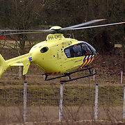 Dodelijk ongeval Randweg Huizen, traumahelicopter landy in weiland.politie, beknelling, verkeer, brandweer, ambulance, trauma, VU, heli, lifeliner