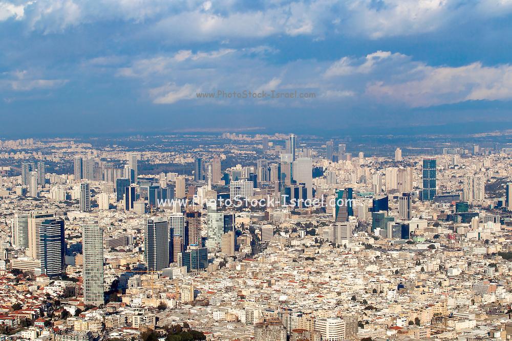 Aerial view of Tel Aviv, Israel looking north east