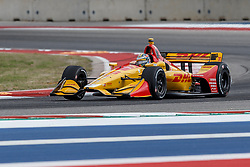March 23, 2019 - Austin, TX, U.S. - AUSTIN, TX - MARCH 23: Ryan Hunter-Reay (28) in the DHL, Honda powered Dallara IR-18 at turn 16 during Practice 3 at the IndyCar Classic held March 22-24, 2019 at the Circuit of the Americas in Austin, TX. (Photo by Allan Hamilton/Icon Sportswire) (Credit Image: © Allan Hamilton/Icon SMI via ZUMA Press)