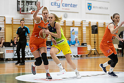 Larisa Ocvirk of ZKK Cinkarna Celje in action during basketball match between ZKK Cinkarna Celje (SLO) and MBK Ruzomberok (SVK) in Round #6 of Women EuroCup 2018/19, on December 13, 2018 in Gimnazija Celje Center, Celje, Slovenia. Photo by Urban Urbanc / Sportida