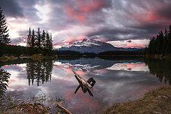 Sunrise at Two Jack Lake.  Mount Rundle towers above the Lake and when lucky shares its reflection upon the lake. <br /> <br /> This is a huge file and can be printed quite large.