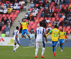 Tiyani Mabunda of Mamelodi Sundowns goes up for the header during the 1st leg of the MTN8 Semi Final between Chippa United and Mamelodi Sundowns held at the Nelson Mandela Bay Stadium in Port Elizabeth, South Africa on the 11th September 2016<br /><br />Photo by: Richard Huggard / Real Time Images