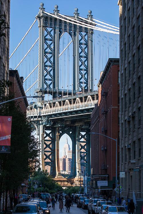 Manhattan Bridge viewed from DUMBO neighbourhood (down under the Manhattan Bridge Overpass) Brooklyn, New York City