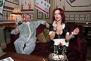 RUBBERELLA, Philip Sallon's mass paranoia swine flu birthday party. Home House. Portman Sq. London. 13 November 2009. *** Local Caption *** -DO NOT ARCHIVE-© Copyright Photograph by Dafydd Jones. 248 Clapham Rd. London SW9 0PZ. Tel 0207 820 0771. www.dafjones.com.<br /> RUBBERELLA, Philip Sallon's mass paranoia swine flu birthday party. Home House. Portman Sq. London. 13 November 2009.