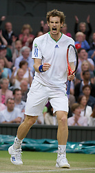 24.06.2011, Wimbledon, London, GBR, Wimbledon Tennis Championships, im Bild Andy Murray (GBR) celebrates winning the first set during the Gentlemen's Singles 3rd Round match on day five of the Wimbledon Lawn Tennis Championships at the All England Lawn Tennis and Croquet Club, EXPA Pictures © 2011, PhotoCredit: EXPA/ Propaganda/ *** ATTENTION *** UK OUT!
