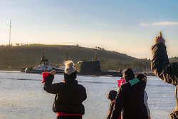 Family and freinds celebrate a safe return of HMS Artful returning to Faslane after 5 motnhs away at sea - patroling The Med and The Gulf<br />Dave Cullen | EEm 12/01/21