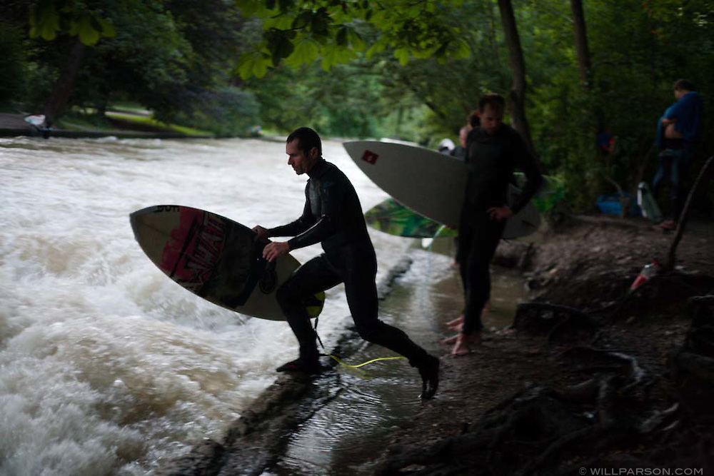 The surfing scene in landlocked Munich depends on a standing wave in the Eisbach, a man-made tributary of the Isar River.  Surfing the Eisbach is technically illegal but tolerated by local authorities and has given rise to local talents like Gerry Schlegel.