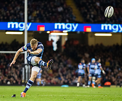 Gareth Anscombe of Cardiff Blues converts<br /> <br /> Photographer Simon King/Replay Images<br /> <br /> Guinness PRO14 Round 21 - Cardiff Blues v Ospreys - Saturday 27th April 2019 - Principality Stadium - Cardiff<br /> <br /> World Copyright © Replay Images . All rights reserved. info@replayimages.co.uk - http://replayimages.co.uk