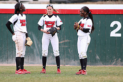 06 April 2013:  Outfielders Jhavon Hamilton, Lauren Kellar, and Nichelle Harrison during an NCAA Division 1 Missouri Valley Conference (MVC) women's softball game between the Drake Bulldogs and the Illinois State Redbirds on Marian Kneer Field in Normal IL