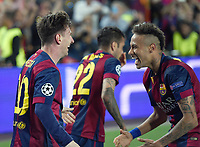 Fotball<br /> Tyskland<br /> 06.05.2015<br /> Foto: imago/Digitalsport<br /> NORWAY ONLY<br /> <br /> Torjubel: Lionel Messi und Neymar (re, beide Barca) <br /> <br /> Fussball, Champions League, Halbfinale Hinspiel, FC Barcelona - FC Bayern München