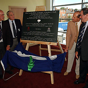 Former Yorkshire players (from left) Brian Close, Ray Illingworth, Geoffery Boycott and Freddie Truman unveil the plaque to officially open the new east stand at Headingley.