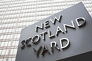 The New Scotland Yard sign and building, Westminster, London. UK.