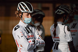 Floortje Mackaij (NED) waits to be called onto stage at the 2020 Brabantse Pijl - Elite Women, a 121 km road race from Lennik to Overijse, Belgium on October 7, 2020. Photo by Sean Robinson/velofocus.com