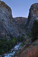 Evening light on granite peaks over the South Fork of the Kings River, Kings Canyon, Fresno County, California