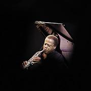 Jazz legend Wayne Shorter plays saxophone during the 2014 Monterey Jazz Festival.