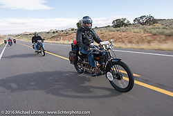 Vern Acres of Ontario, Canada riding his 4-cylinder 1914 Henderson class-2 motorcycle during the Motorcycle Cannonball Race of the Century. Stage-12 ride from Page, AZ to Williams, AZ. USA. Thursday September 22, 2016. Photography ©2016 Michael Lichter.