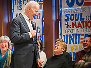 30 JANUARY 2020 - NEWTON, IOWA: Vice President JOE BIDEN talks to a woman who made a joke about President Trump during a campaign event in Newton. About 150 people came to Newton, about 30 miles east of Des Moines, to listen to Vice President Biden talk about his reasons for running for President. Biden used the event to outline the differences between himself and President Trump, while President Trump was in Des Moines Thursday campaigning against Democrats, especially Vice President Biden. Iowa hosts the first event of the presidential election cycle. The Iowa Caucuses are Feb. 3, 2020.          PHOTO BY JACK KURTZ