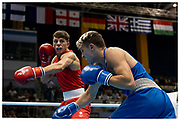 Pat McCormack fights Hugo Micallef and goes on to win gold for Team GB during The Minsk 2019 European Games, Belarus. Shot for Team GB & Lumix UK