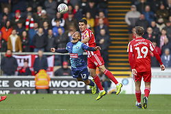 March 9, 2019 - High Wycombe, Buckinghamshire, United Kingdom - Sunderlands Reece James wins a header during the Sky Bet League 1 match between Wycombe Wanderers and Sunderland at Adams Park, High Wycombe, England  on Saturday 9th March 2019. (Credit Image: © Mi News/NurPhoto via ZUMA Press)