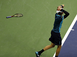 NEW YORK, Sept. 9, 2017  Kevin Anderson of South Africa celebrates after defeating Pablo Carreno Busta of Spain during the men's singles semifinal match at the 2017 US Open in New York, the United States, Sept. 8, 2017. Kevin Anderson won 3-1 to enter the final. (Credit Image: © Qin Lang/Xinhua via ZUMA Wire)